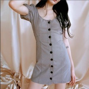 UO Emily puff sleeve raw hem houndstooth dress szL
